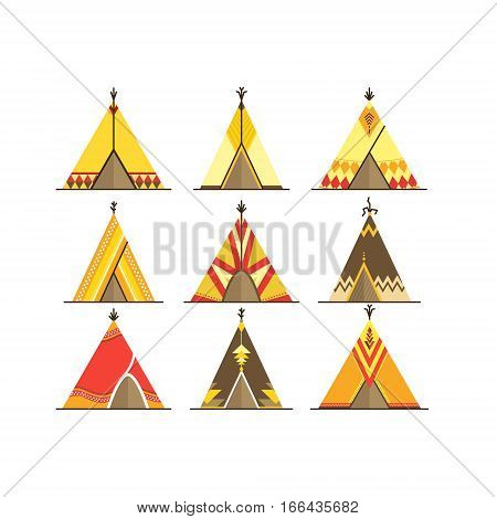 Cartoon Wigwams or Tepees Icons Set Traditional Tribal House Flat Design Style. Vector illustration