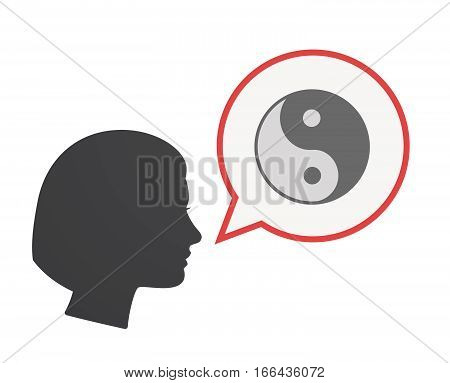 Isolated Female Head With A Ying Yang