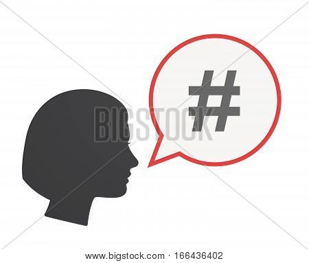 Isolated Female Head With A Hash Tag