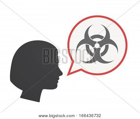 Isolated Female Head With A Biohazard Sign