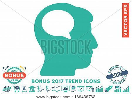 Cobalt And Cyan Person Thinking pictogram with bonus 2017 trend pictograms. Vector illustration style is flat iconic bicolor symbols, white background.