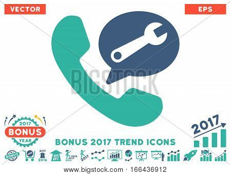 Cobalt And Cyan Phone Service Message pictogram with bonus 2017 trend symbols. Vector illustration style is flat iconic bicolor symbols, white background.