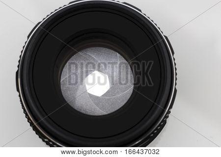 lenses from the camera isolated on white background