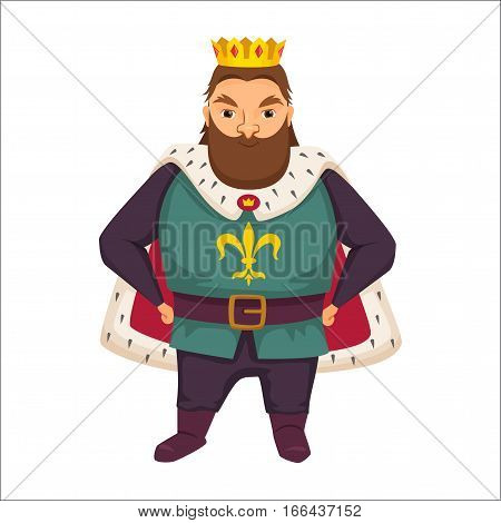 King. Fat man with crown and royal robes. Fairytale. Fantastic kingdom character. Magical stories vector cute clipart. Funny monarch.