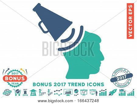 Cobalt And Cyan Propaganda Megaphone pictograph with bonus 2017 trend icon set. Vector illustration style is flat iconic bicolor symbols, white background.