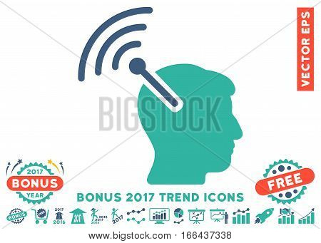 Cobalt And Cyan Radio Neural Interface pictogram with bonus 2017 year trend pictures. Vector illustration style is flat iconic bicolor symbols, white background.