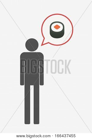 Isolated Pictogram With A Piece Of Sushi Maki