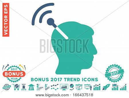 Cobalt And Cyan Radio Neural Interface icon with bonus 2017 year trend images. Vector illustration style is flat iconic bicolor symbols, white background.