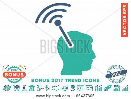 Cobalt And Cyan Radio Neural Interface pictogram with bonus 2017 trend clip art. Vector illustration style is flat iconic bicolor symbols, white background.
