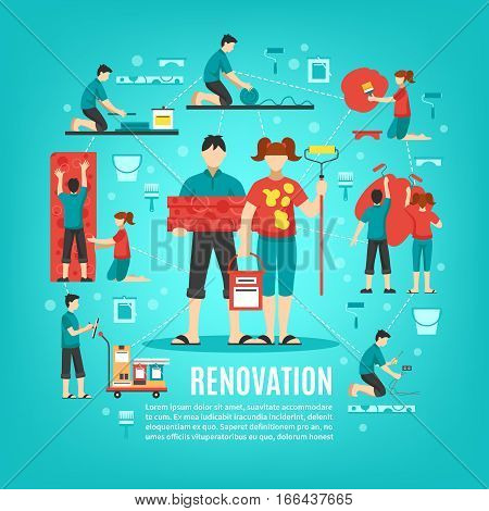 Renovation crew square conceptual background with boy and girl faceless characters cleaning apartment with editable text vector illustration