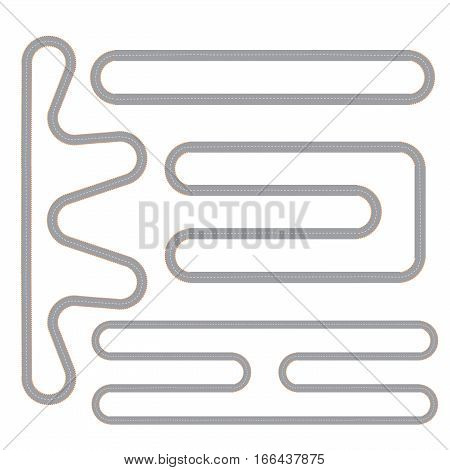 Race track four isolated patterns set with top view  motor circuit continuous shape flat images vector illustration