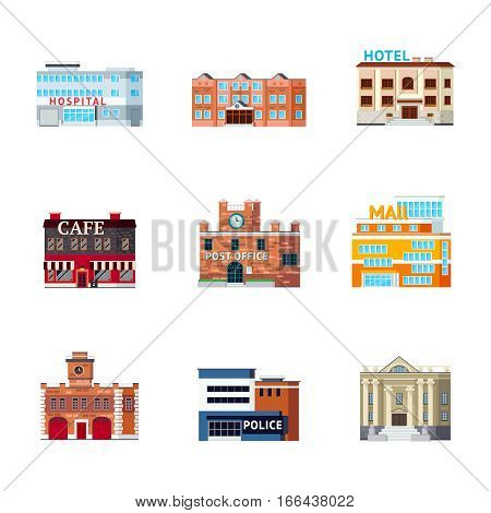 Orthogonal icons set with isolated images of different purpose city buildings facade looks and architectural form vector illustration