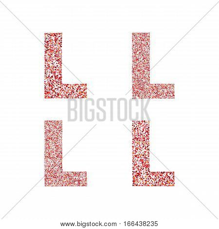 Alphabet letter L with red heart on Valentine's Day. Valentine`s Day Alphabet of Hearts. Love ABC