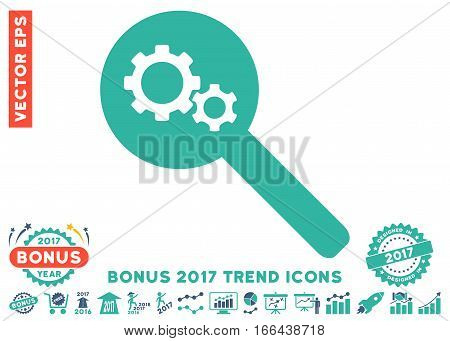 Cobalt And Cyan Search Gears Tool pictograph with bonus 2017 year trend clip art. Vector illustration style is flat iconic bicolor symbols, white background.