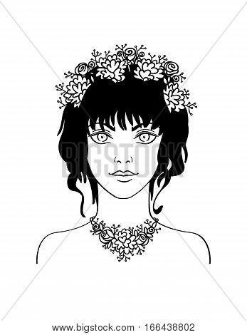 Hand drawn stylish beautiful young girl with curly hair and flowers. Summer girl portrait in hand draw style. Vector illustration of young girl with flowers in her curly hair.
