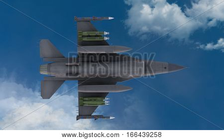 F -16 , american military fighter plane.Jet plane. Fly in clouds. 3d rendering