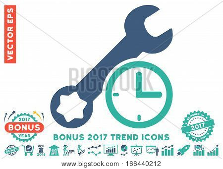 Cobalt And Cyan Service Time pictogram with bonus 2017 year trend icon set. Vector illustration style is flat iconic bicolor symbols, white background.