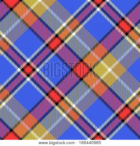 Blue bright color check plaid seamless fabric texture. Vector illustration.