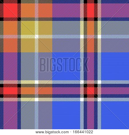 Blue check fabric texture seamless pattern. Vector illustration.