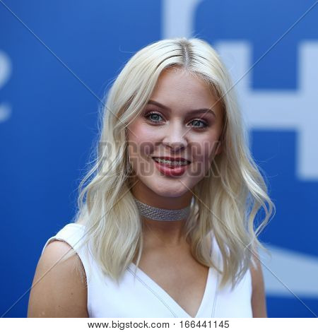 NEW YORK - AUGUST 27, 2016: Swedish singer and songwriter Zara Larsson participates at Arthur Ashe Kids Day 2016 at Billie Jean King National Tennis Center in New York