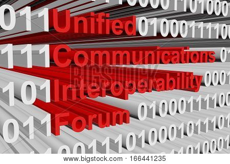Unified Communications Interoperability Forum in the form of binary code, 3D illustration