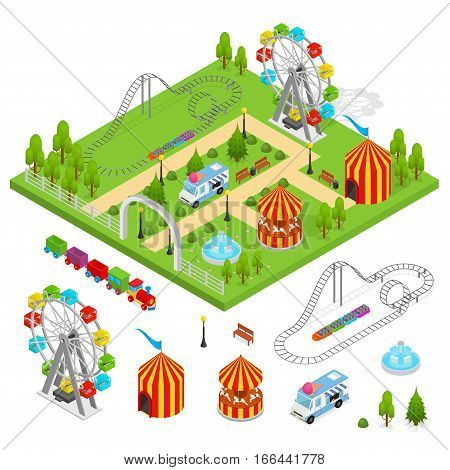 Amusement Park and Part Set Isometric View Design Element for Urban Landscape Leisure and Recreation for Family. Vector illustration