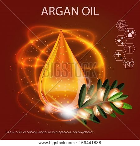 Argan Oil Serum Essence 3D Droplet with Branch, Skincare Icon, Cosmetics Ads Template
