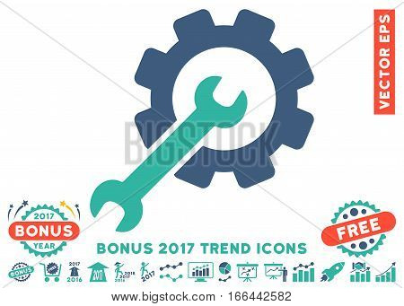 Cobalt And Cyan Setup Tools pictogram with bonus 2017 year trend pictures. Vector illustration style is flat iconic bicolor symbols, white background.