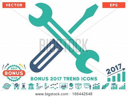 Cobalt And Cyan Spanner And Screwdriver pictograph with bonus 2017 year trend symbols. Vector illustration style is flat iconic bicolor symbols, white background. poster