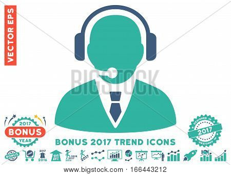 Cobalt And Cyan Support Manager icon with bonus 2017 trend icon set. Vector illustration style is flat iconic bicolor symbols, white background.