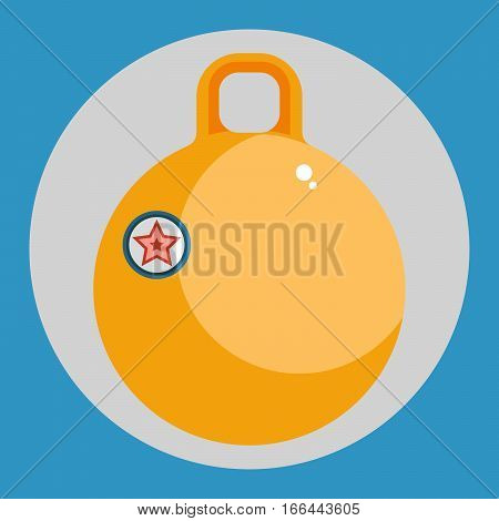 Fitball icon. Colorful fitball on a blue background. Sports Equipment. Vector Illustration