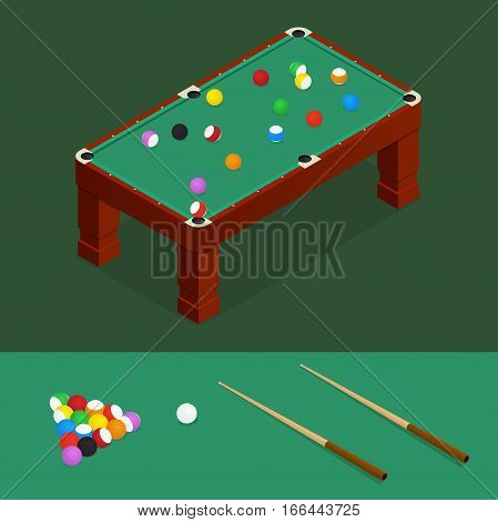 Billiard Green Table with Balls and Cue Gambling Entertainment Isometric View for Web and App. Vector illustration