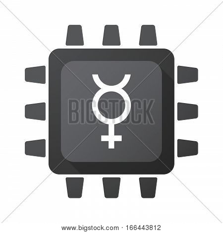 Isolated Chip With  The Mercury Planet Symbol