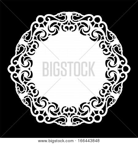 Lace round paper doily lacy snowflake greeting element template for cutting plotter round pattern laser cut template doily to decorate the cake vector illustrations.