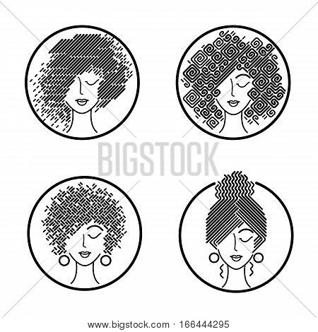 Women's hairstyles. Set of girls faces in a circle. Vector illustration for design packing shampoo hair cosmetics hairdressing signage flyers advertising. Black and white icons.
