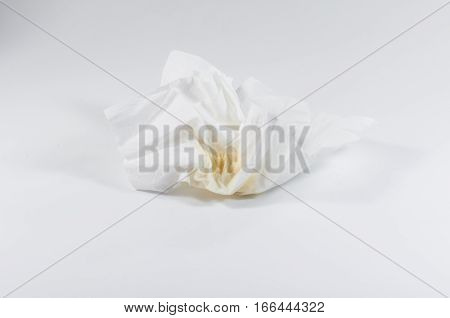 The Yellow And Green Snot On White Tissue Paper. Cold Sick