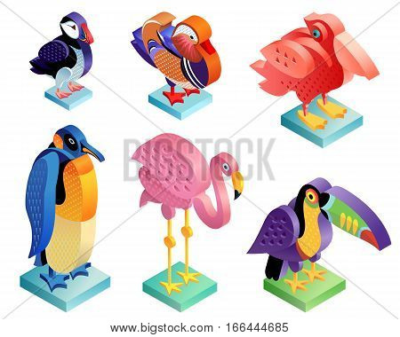 Birds puffin mandarin duck flamingos toucan pelican penguin isolated on white background. Set of vector animals - isometric icons. Illustrations in an unusual style.