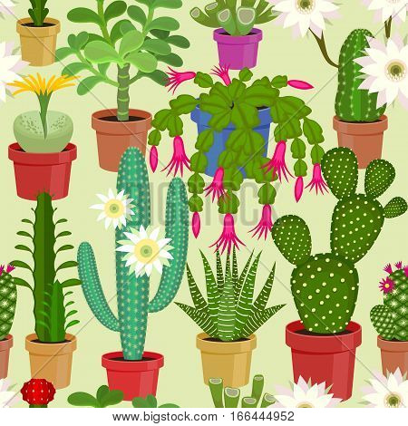 Blooming cactus seamless pattern. Vector illustration of flowers.