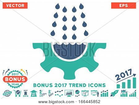 Cobalt And Cyan Water Shower Service Gear pictograph with bonus 2017 year trend design elements. Vector illustration style is flat iconic bicolor symbols, white background.