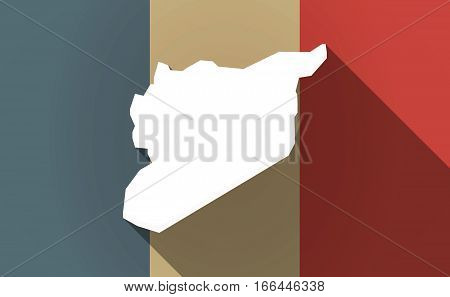 Long Shadow France Flag With  The Map Of Syria