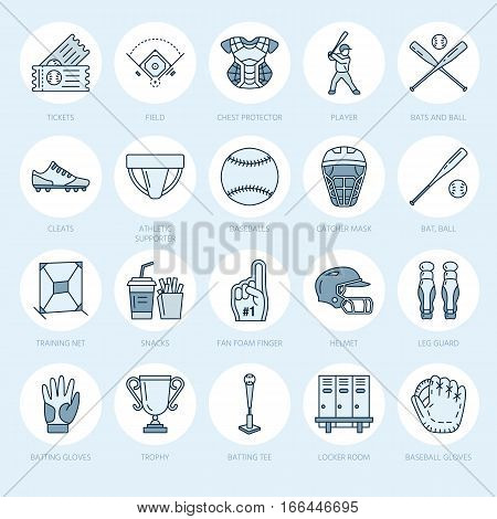 Baseball, softball sport game vector line icons. Ball, bat, field, helmet, pitching machine, catcher mask. Linear signs set, championship pictograms for event equipment store