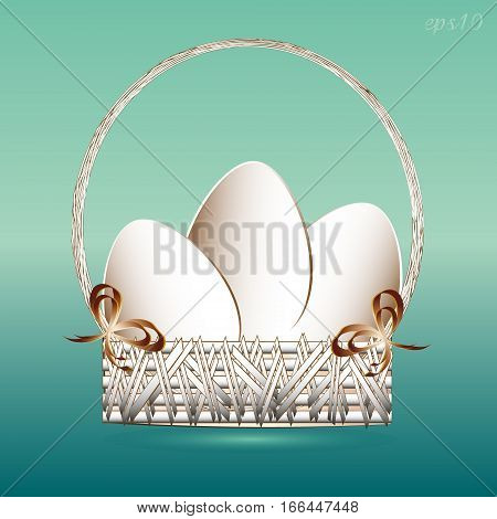 Easter basket with eggs Abstract, holiday religion three international style paper object two bow applique vessel handle circle vector illustration design Stock author