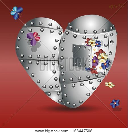 Iron heart and bouquet Abstract composition style techno metal rivet flower two butterfly colorful holiday valentine pattern shadow stock vector illustration