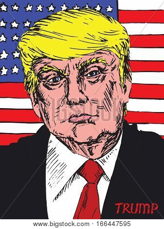 Portrait of American  president Donald Trump on the background of the American flag, drawn by hand vector illustration in pop art style