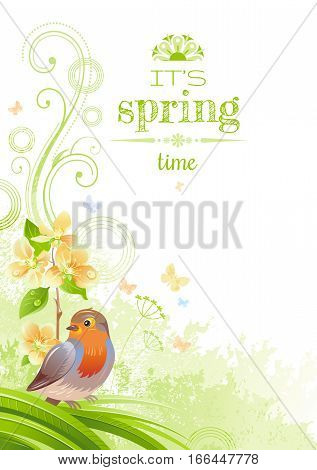 Spring nature vector poster isolated white background, robin bird, cherry blossom. Happy Easter, Birthday, Wedding, Mother day watercolor holiday border pattern. Floral abstract illustration template.