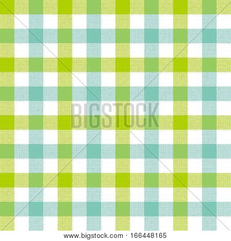 Green blue check tablecloth seamless pattern. Vector illustration. EPS 10.