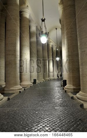 Colonnades Of Bernini In The San Pietro Square