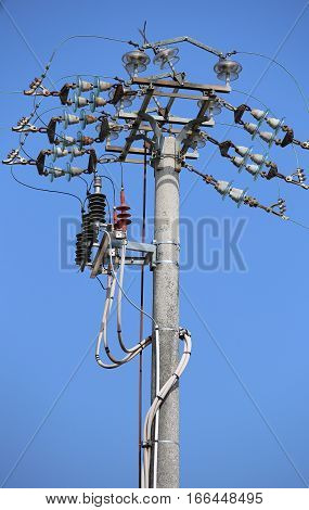 Switches Of An Overhead Power Line With  Concrete Pole And Elect