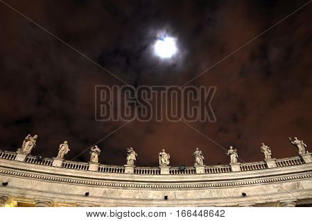 Statues Of Saints In San Pietro Square, Vatican