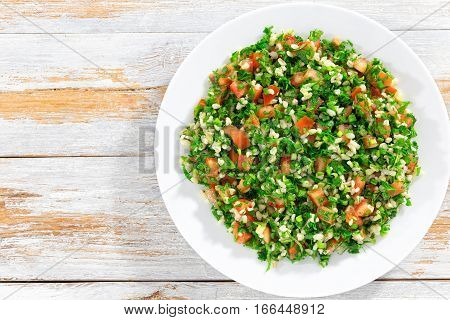 Parsley Salad Or Tabbouleh On White Platter